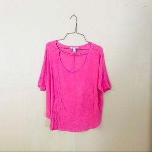 Pink Cutout Neckline Knit Top